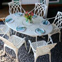 EMILY Tisch - Weiß (6 Personen Set)