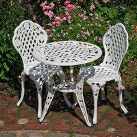 ROSE Bistro Set (Tisch mit 2 Stühlen) - Weiß