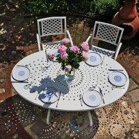 Charlotte white 6 seater oval garden table set 4