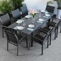 VIRGINIA Tisch - Grau (8 Personen Set)
