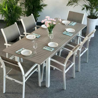 LOTTIE Tisch - Weiß und Beige (6 Personen Set)