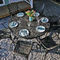 135cm 6 seater round garden furniture set 2
