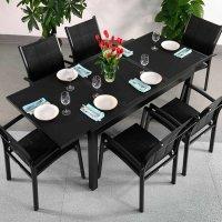DAISY Tisch - Schwarz (6 Personen Set)