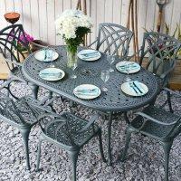 JUNE Tisch - Schiefergrau (6 Personen Set)