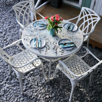 FLORA Tisch - Weiß (4 Personen Set)