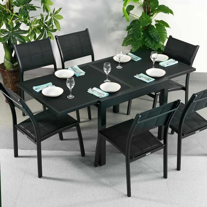 RUBY Tisch Schwarz (6 Personen Set)