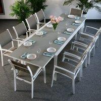 VIOLET Tisch - Weiß und Beige (10 Personen Set)