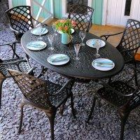 CHARLOTTE Tisch - Antik Bronze (6 Personen Set)