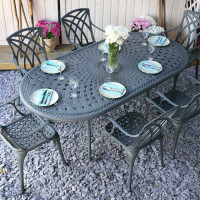 CATHERINE Tisch - Schiefergrau (6 Personen Set)