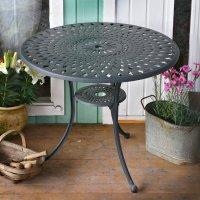 Schieferfarbener MIA 90 cm runder Aluguss Gartentisch - einzeln