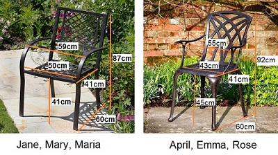 Metal Garden chair dimensions